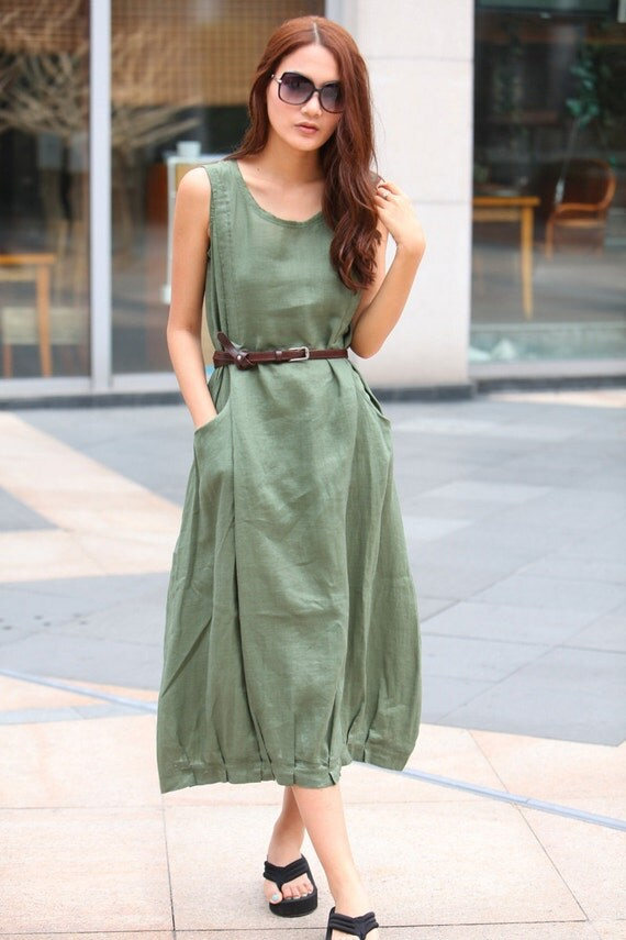 Maxi Dress Unique Sundress in Amy Green Summer Long Dress  - NC306