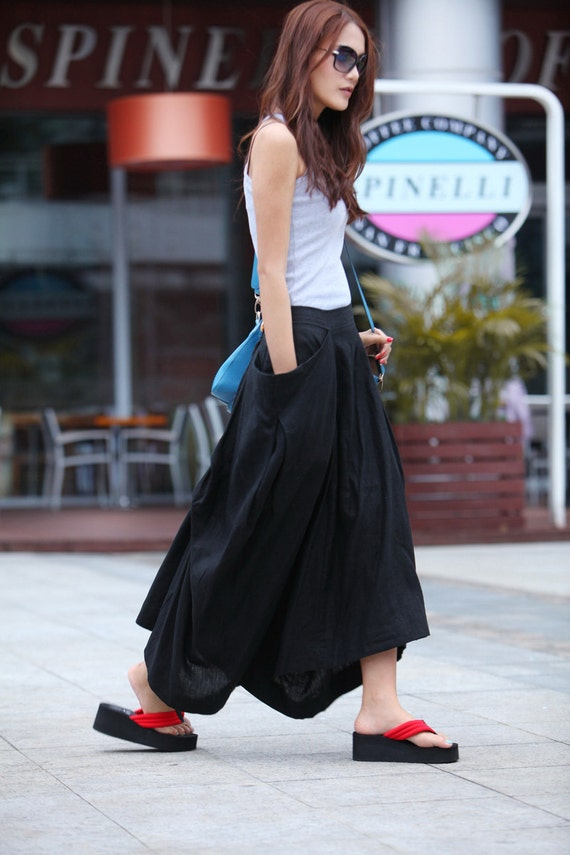 Maxi Skirt Big Pockets Lagenlook Long Skirt in Black Summer Linen Skirt - Custom made - NC144