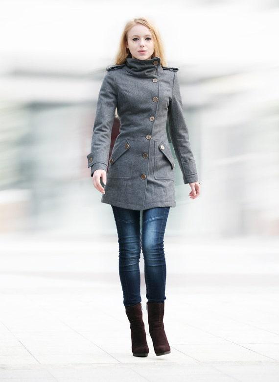 Dark Grey Fitted Coat Military Jacket Winter Wool Coat Women Coat - Custom Made - NC240
