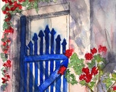 Blue Gate,  Red Flowers, White Building, Watercolor, Digital Print