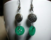 Earrings -- Dublin -- celtic knot beads, green buttons