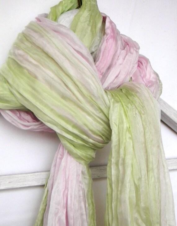 Bridal Silk Shawl.Bridal wrap.Bridal Scarf.Pink and Green Ruffled Scarf.Wedding Stole.Bridesmaids Silk Shawl.Ombre Scarf.Spring Wedding.