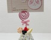 Chocolate fudge creamy fruity heart shape polymer clay cupcake card / note holder