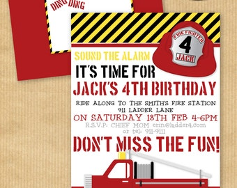 "Boys Fire Truck BIRTHDAY Party Invitation5 x7"" with Wrap around Address Label & Envelope Template - DIGITAL files only- Print yourself"