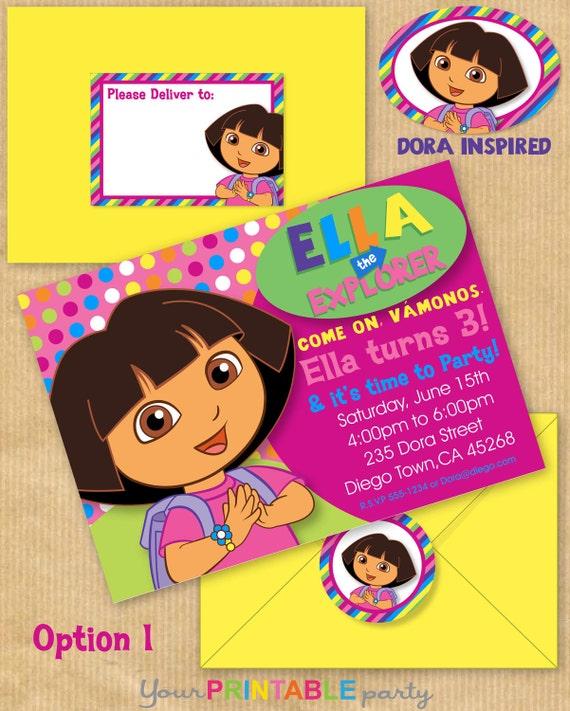 New DORA the Explorer Inspired Deluxe Birthday Party – Dora the Explorer Birthday Invitations