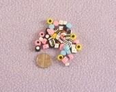 50 Handmade, Polymer Clay, Miniature Liquorice Allsorts Sweets/Candy Beads