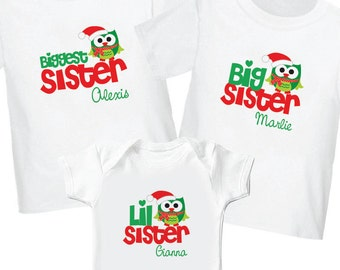 Santa Owl Christmas Shirts - Biggest Sister Shirt, Big Sister Shirt, Lil Sister Shirt - Personalized Christmas Sibling Shirt