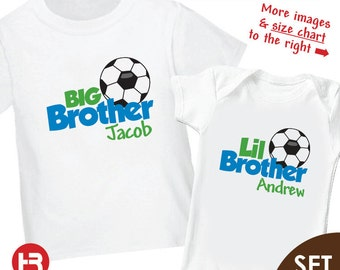 Soccer Big Brother Shirt & Soccer Little Brother Shirt - 2 Personalized Soccer Shirts