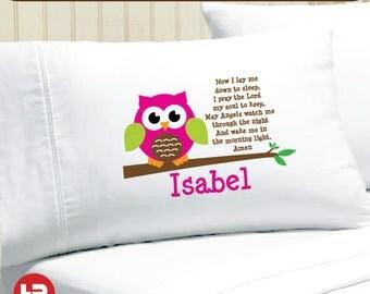 Happy Owl Prayer Pillowcase -  Girls Personalized Pillowcase