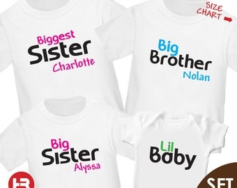Biggest Sister Shirt, Big Brother Shirt, Big Sister Shirt & Baby Shirt or Bodysuit - 4 Personalized Sibling Shirts - baby shower gift