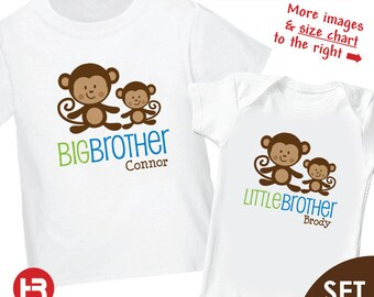 Monkey Big Brother Shirt & Monkey Little Brother Shirt or Bodysuit - 2 Personalized Sibling Shirts