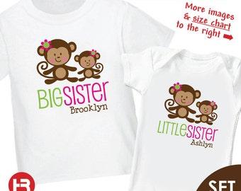 Monkey Big Sister Shirt & Monkey Little Sister Shirt or Bodysuit - 2 Personalized Sibling Shirts