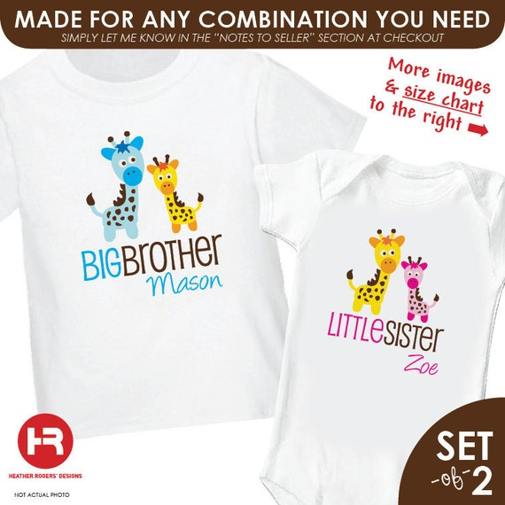 Big Brother Shirt & Giraffe Little Sister Shirt or Bodysuit - Personalized Sibling Shirts Set of 2 Matching Sibling Shirts baby shower gift
