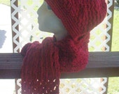 Burgundy Crochet Hat and Scarfette Set