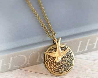 Hunger Games Woodland Jewelry Inspired Bird Locket Antique Locket Jewelry Limonbijoux