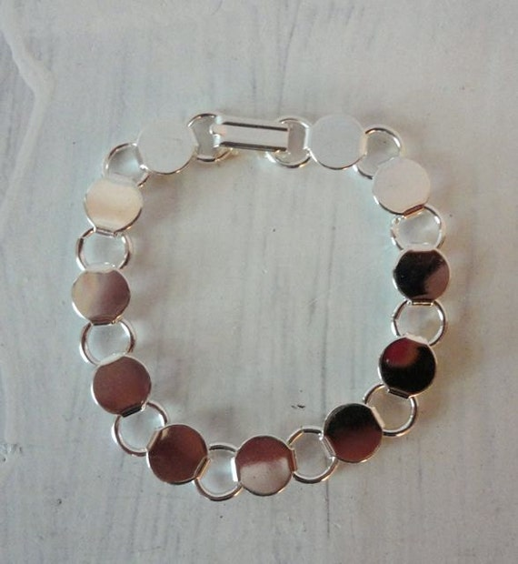 10 Sterling Plated Disk and Loop Bracelets with Glueable Pads