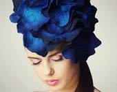 Bright Blue Rose fascinator hat with merino wool, silk fibers and chiffon silk