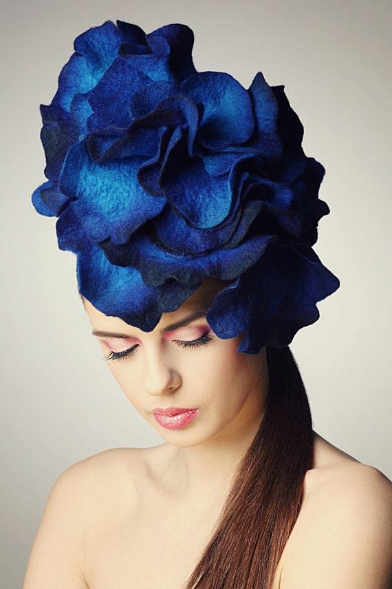 Custom order for crystalkimber - Bright Blue Rose fascinator hat with merino wool, silk fibers and chiffon silk