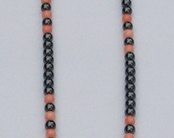 Pink Coral and Hematite Necklace