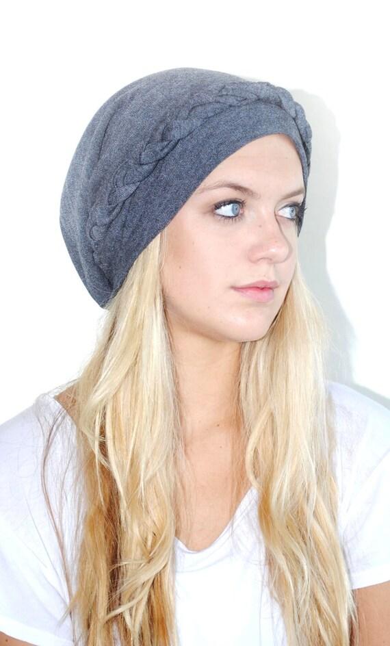Grey Knit Braided Slouchy Beanie cap