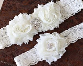 SALE!!! Wedding garter set Ivory garter set, Vintage bridal garter set