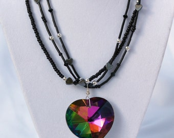 Black heart statement necklace, three strand crystal heart necklace, Valentine's day