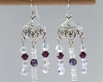 Amethyst chandelier earrings, February birthstone, gemstone earrings, Swarovski crystals, moonstone, sterling silver, hippie,boho,chandelier