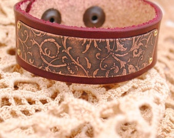 Etched Copper Bracelet, leather vine bracelet, Leather and Copper Bracelet, Leather Bracelet Cuff, Etched Copper Jewelry, Vine bracelet