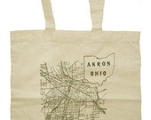 1916 Akron Ohio Map on Natural Canvas Tote