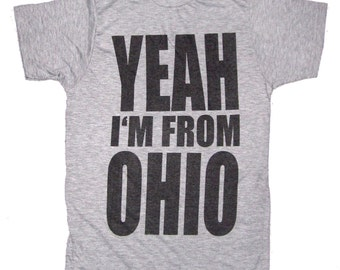 SUPER SOFT Vintage Feel Tee - Yeah I'm From Ohio on Heather Grey