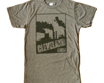 CLEARANCE: SUPER SOFT Vintage Feel Tee - Cleveland Smokestacks in Black on Heather  Brown Tee