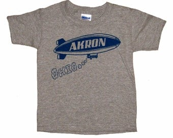 Youth and Toddler Tee - Akron Ohio Blimp in Blue on Heather Grey