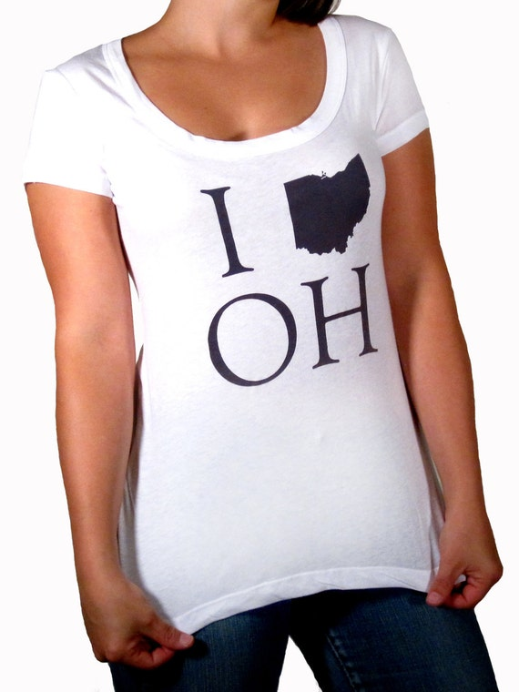 SALE: White Boyfriend Fit Scoop Neck Tee - I (Ohio) OH