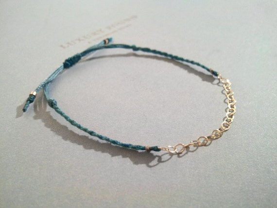 LINKY. delicate minimal layering friendship bracelet gold filled chain. adjustable cotton cord