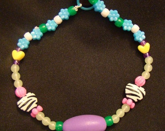 Custom Raver Kandi Necklace with Flowers and Hearts