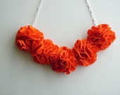 Fabric Blossom Necklace, Orange