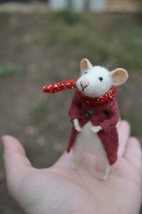 The Little Mouse with recycled coat and scarf with glitter needle felted ornament animal, felting dreams by johana molina - made to order