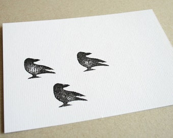 Crow card - three handstamped crows - black and white
