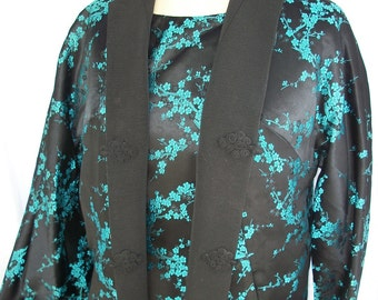 Vintage Asian Couture Waison Rouge Brocade Dress and Reversible Below Knee Jacket