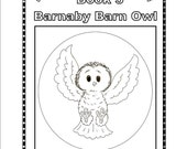 Kids coloring book, easy to read story, cute animal illustrations, owl, educational, homeschool help, download, 1 FREE book