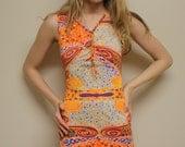 Vintage 60s Mini Dress/ Psychedelic/ Small/ Orange