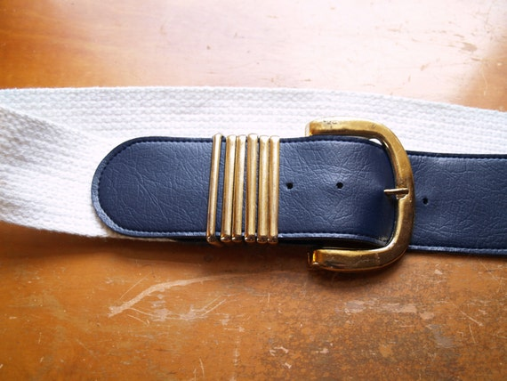 1980s Nautical Navy White and Gold Wide  - Leather and Canvas Sailor Belt with Gold Bands - Small Medium