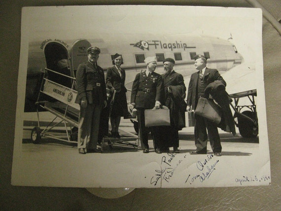 American Airlines Flagship Crew... Vintage Photo... 1940's Snapshot Photograph