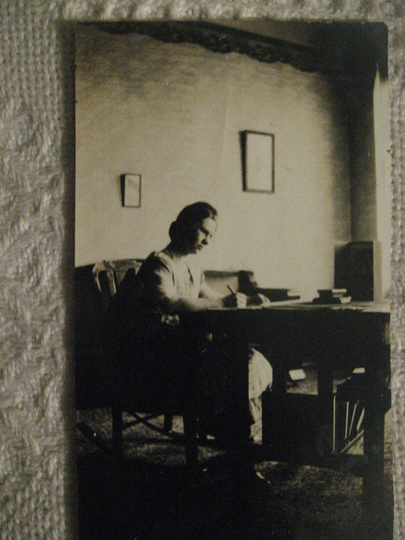 Victorian Woman at her Writing Desk   . .1900s Vintage Photo