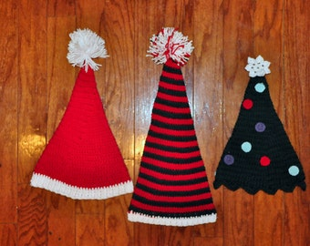 Crochet Pattern PDF - Stocking / Elf Hats - Spiral Holiday Hats - Santa, Striped Elf & Christmas Tree - Newborn to Adult Sizes