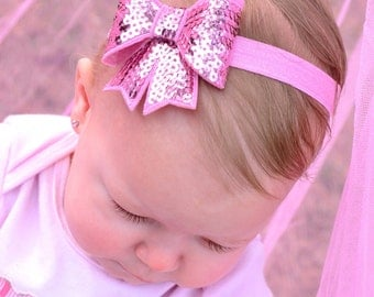 Baby Stretch Headband, Sparkly Pink Sequin Bow Stretchy Shimmery Headband - Headband Sizes Newborn to Adult