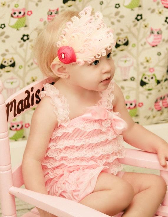 Lace Petti Romper, Pastel Pink Princess Ruffled Lace Petti Romper Photography Prop Photo Shoot