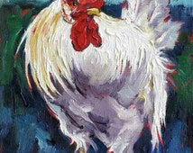 Rooster Print, Rooster Painting, White Rooster Painting, Chicken Art Decor, Rooster Art  7 x 5 by Jemma's Gems