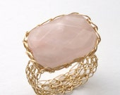 Rose Quartz Ring 14K Gold Fill Wire Crochet - Made to Order