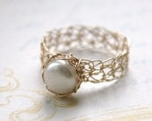 Gold Pearl Ring - Wire Crocheted 14K Gold Fill & Freshwater Pearl - Any Size - MADE TO ORDER